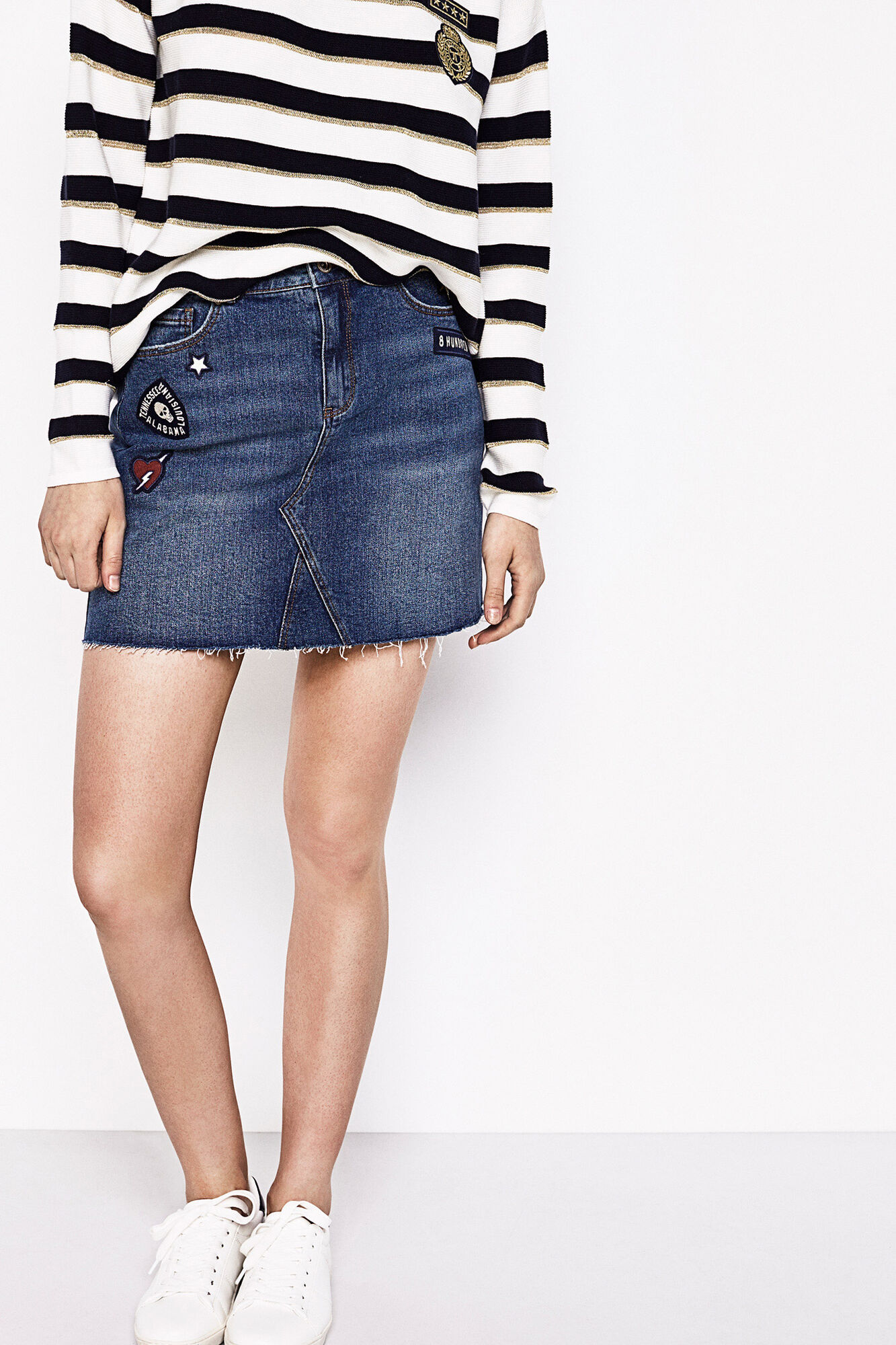 Springfield JEAN SKIRT WITH PATCHES Steel Blue