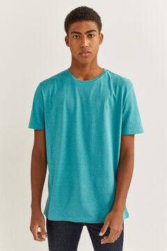 Springfield Embroidered micro striped t-shirt blue