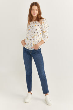 Springfield Printed t-shirt with lace shoulders steel blue
