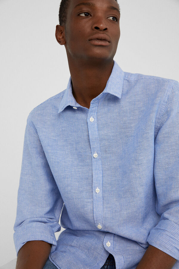23c91507d Springfield Striped linen shirt blue