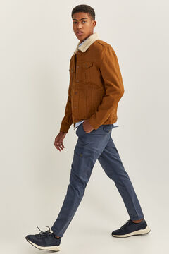 Springfield COTTON JACKET WITH SHEEPSKIN brown