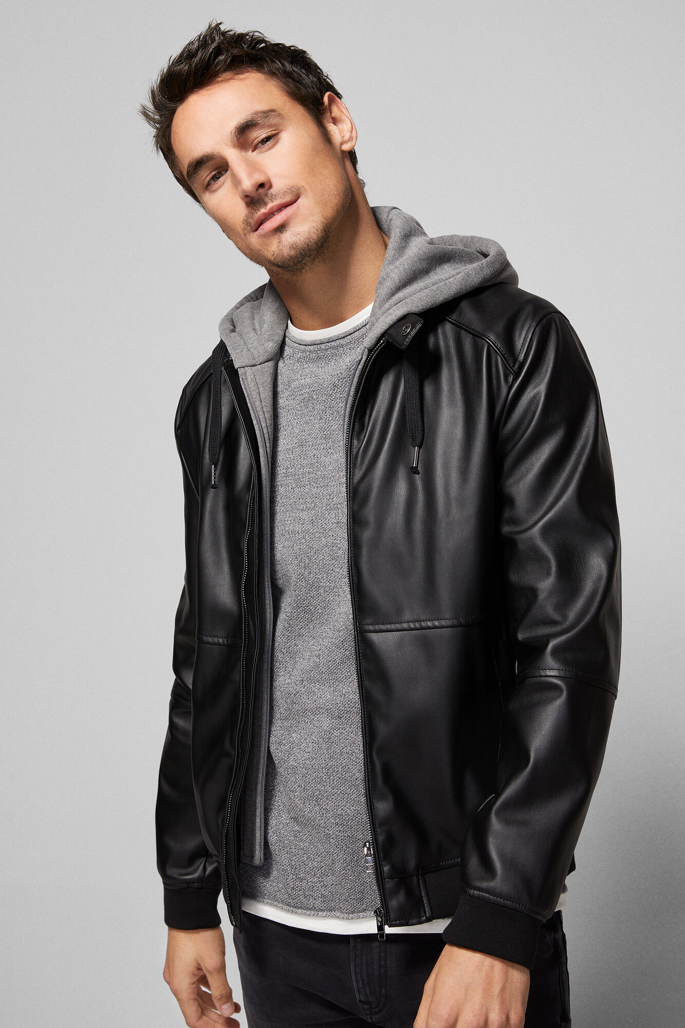 suave y ligero los Angeles numerosos en variedad Two-tone effect leatherette bomber jacket with plush hood
