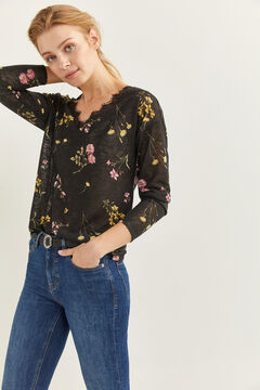 Springfield Printed Scalloped Lace T-shirt black