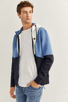 Springfield COLOUR BLOCK HOODED SWEATSHIRT blue