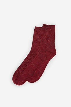 Springfield Mottled Cable Knit Socks red