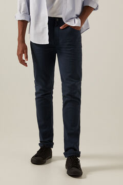 Springfield Slim fit washed 5-pocket coloured trousers blue