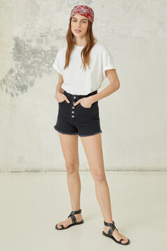 Springfield Metal buttons denim shorts black