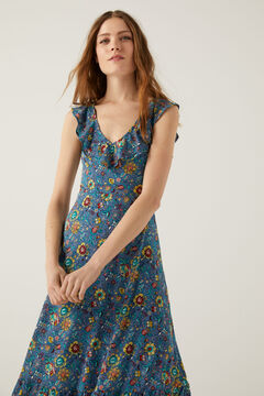 Springfield Flounced neckline and back long dress blue