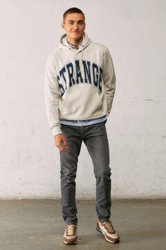 Springfield Cotton hooded sweatshirt with STRANGE print. grey