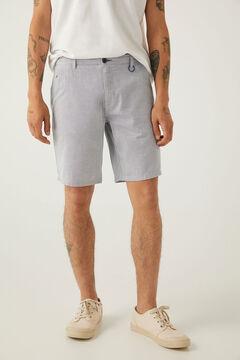 Springfield Textured two-tone casual Bermuda shorts bluish