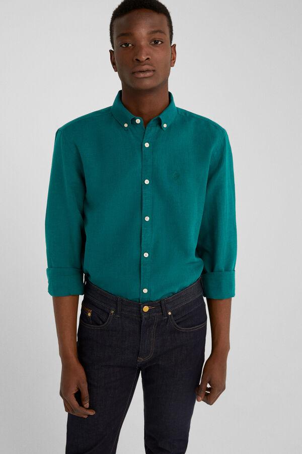 d83b0afa076cf Springfield Camisa lino verde jungla