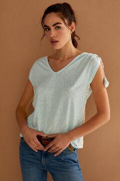 Springfield T-Shirt Häkelarbeit Quasten violet