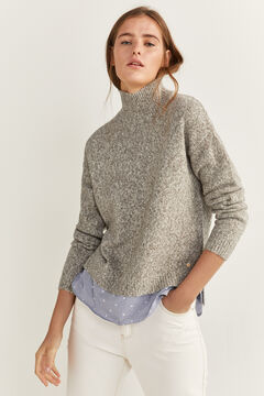 Springfield Two-material Mock Turtleneck Jumper grey mix