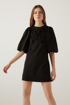 Springfield Floral dress with voluminous sleeves black