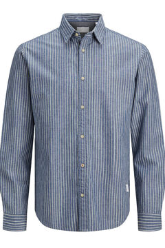 Springfield Printed organic cotton shirt blue mix
