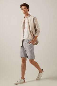 Springfield Two-tone rustic linen Bermuda shorts blue