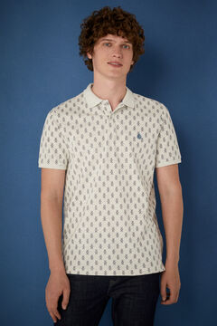Springfield Slim fit polo shirt with all-over print grey