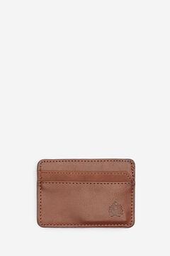 Springfield Porte-cartes effet cuir et daim brun