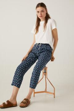 Springfield Floaty printed trousers steel blue