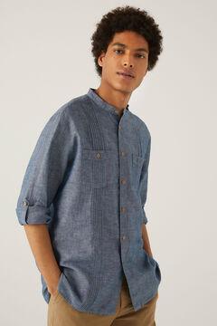 Springfield Camisa lino mao azulado