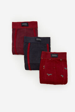Springfield 3-PACK DOG BOXERS royal red