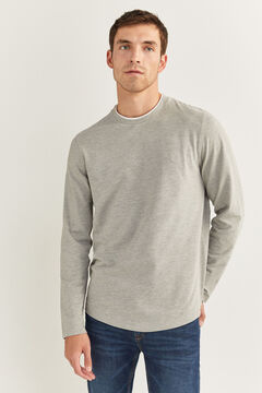 Springfield LONG-SLEEVED PIQUÉ T-SHIRT gray