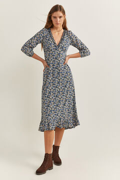 Springfield Floral midi dress indigo blue