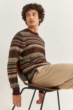 Springfield Chunky wool jacquard jumper red