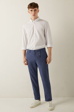 Springfield Two-tone stretch linen chinos blue