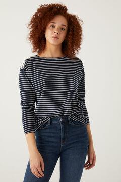 Springfield Crochet shoulders striped t-shirt indigo blue