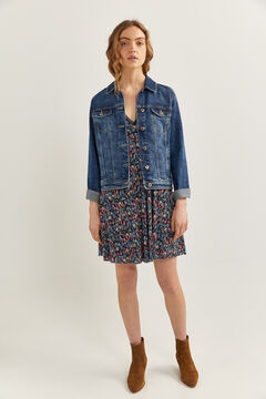 Springfield Printed flounced short dress blue mix