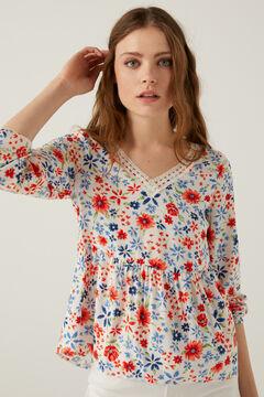 Springfield Printed floaty blouse ecru