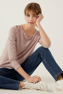 Springfield Soft Feel Two-Material Striped T-Shirt strawberry