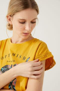 Springfield Elephant crochet sleeves T-shirt golden
