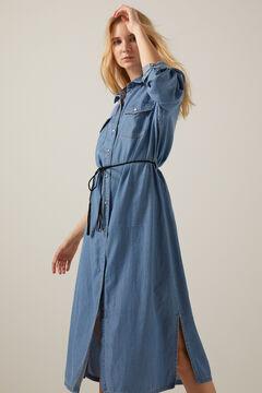 Springfield Tencel cotton denim shirt dress steel blue