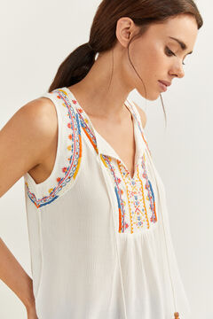 Springfield Boho embroidery blouse medium beige