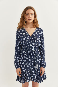 Springfield Short printed crossover dress blue mix