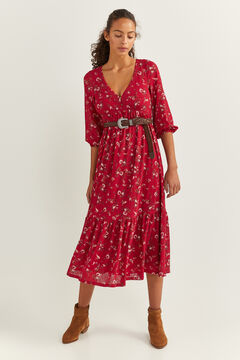 Springfield Paisley Print Midi Dress natural