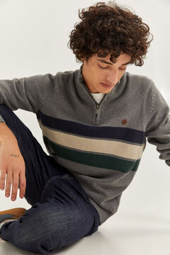 Springfield STRIPED ZIP-UP NECK JUMPER grey