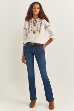 Springfield Ethnic Embroidery Blouse camel
