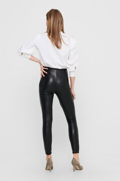 Springfield Leather elasticated waist leggings black