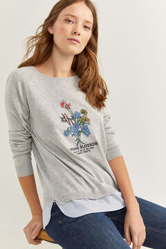 Springfield Two-material jumper with graphic print grey mix