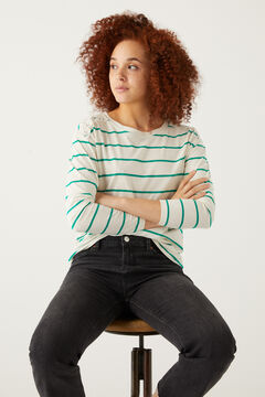 Springfield Crochet shoulders striped t-shirt green