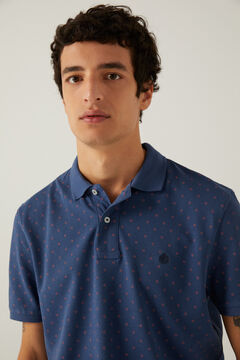 Springfield Piqué polo shirt all-over print navy mix