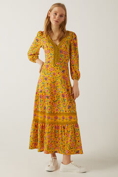 Springfield Floral borders midi dress golden