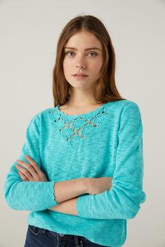 Springfield Jersey escote crochet verde bosque