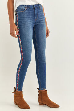 Springfield Side Embroidery Jeans steel blue