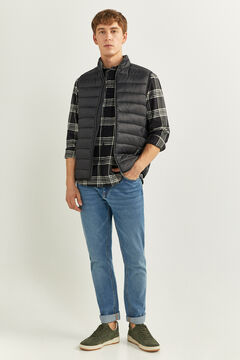 Springfield QUILTED GILET WITH RECYCLED POLYESTER PADDING black