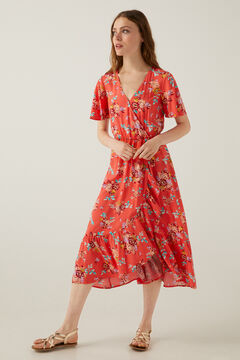 Springfield Printed flounced skirt midi dress brick