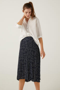 Springfield Printed pleated skirt blue mix